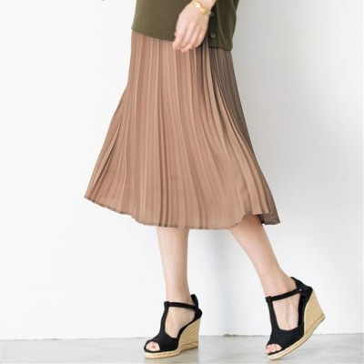 プリーツスカート(洗濯機OK)/カジュアルさを控えめにした丈感(洗濯機OK)/グレージュ/S(58~64)