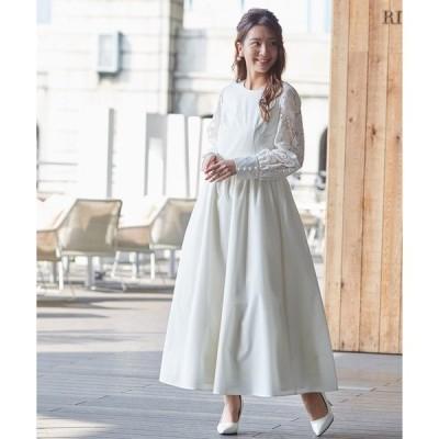 ドレス 【kaene】バックパールデザインロングウェディングドレス