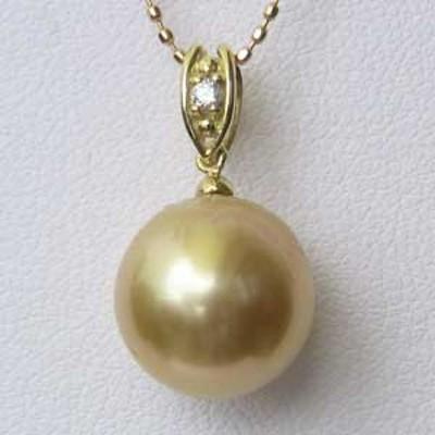 南洋白蝶真珠 K18 ペンダントトップ ペンダントヘッド ダイヤモンド パール ゴールド系 10mm