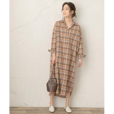 URBAN RESEARCH ROSSO/アーバンリサーチ ロッソ F by ROSSO チェックロングシャツワンピース BROWN FREE