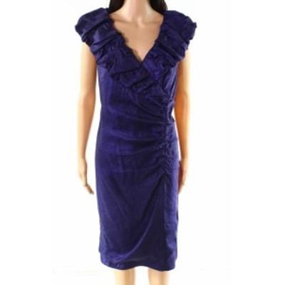 Adrianna Papell アドリアーナ パペル ファッション ドレス Adrianna Papell NEW Blue Women Size 14W Plus Pillow-Collar Sheath Dress