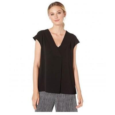 Vince Camuto ヴィンスカムート レディース 女性用 ファッション ブラウス Extend Shoulder V-Neck Knit Back Blouse - Rich Black