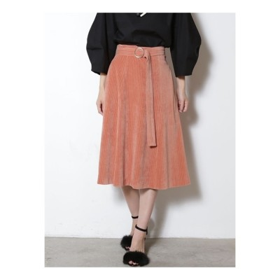 LAGUNAMOON ベロアストライプフレアースカート(ピンク)