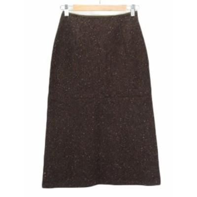 【中古】23区 オンワード樫山 スカート フレア ネップ ツイード ウール 34 茶 ブラウン レディース