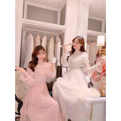 ロングドレス パーティードレス  ホワイト ピンク 小さいサイズ XS 結婚式 披露宴 ドレス