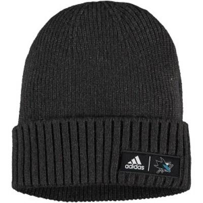 アディダス メンズ 帽子 アクセサリー San Jose Sharks adidas Elite Cuffed Knit Hat Charcoal