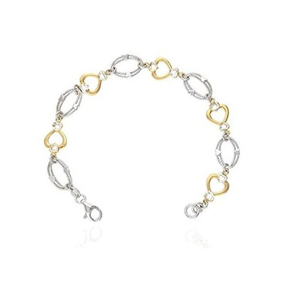 """Yellow Rose Gold Two-Tone Over 925 Silver Heart And Oval Link Bracelet 7"""","""