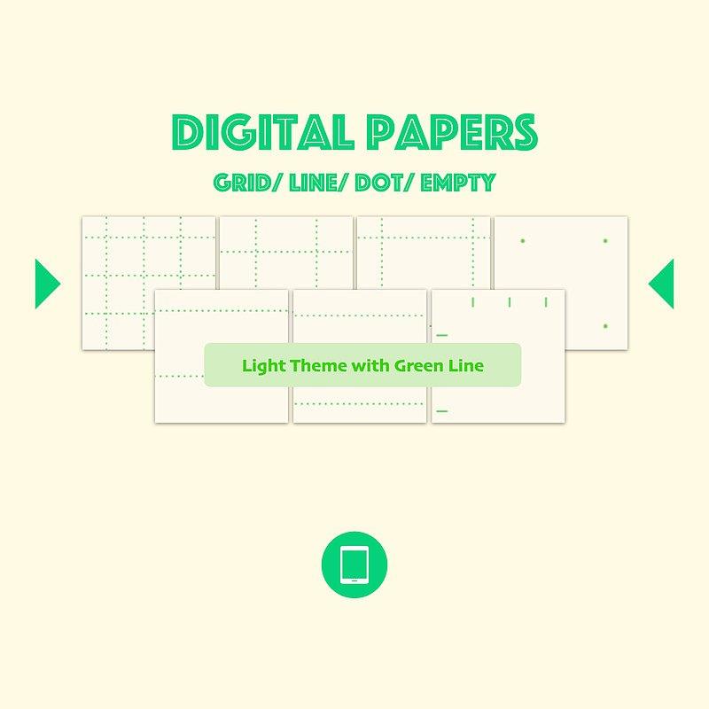 電子筆記本內頁-淺底綠線