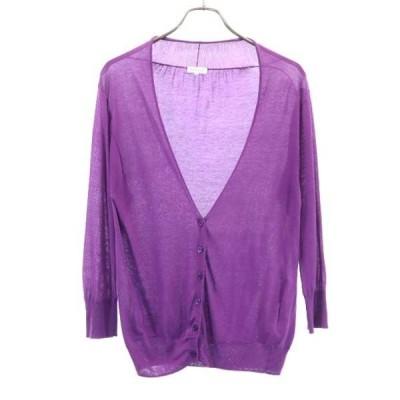 マッキントッシュフィロソフィー カーディガン 38 紫 MACKINTOSH PHILOSOPHY 長袖 薄手 レディース 古着 200917 メール便可