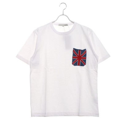 スタイルブロック STYLEBLOCK 空紡糸天竺ジャガードニットポケットTシャツ (ホワイト×ユニオンジャック)