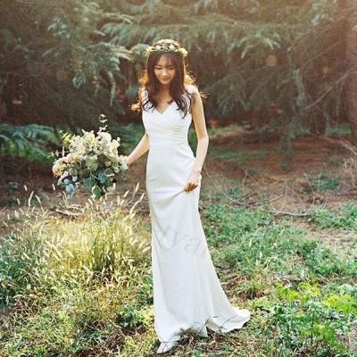 ノースリーブウエディングドレス二次会白パーティードレス結婚式ドレスエンパイア安いフォトウエディング花嫁前撮りビーチフォト