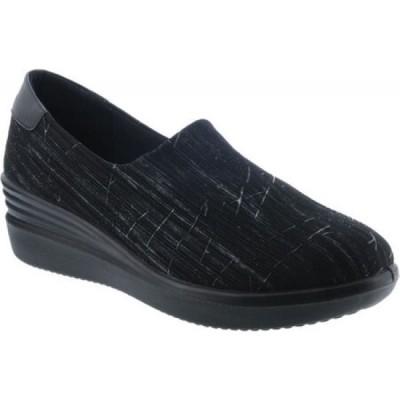 スプリングステップ Flexus by Spring Step レディース スリッポン・フラット ウェッジソール シューズ・靴 Noral-Striate Wedge Slip On Black Multi Textile