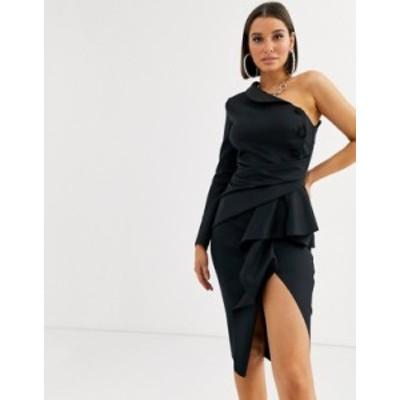 エイソス レディース ワンピース トップス ASOS DESIGN one shoulder tux midi dress with pep detail Black
