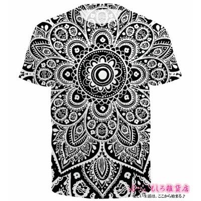 おもしろtシャツ マンダラ Tシャツ マンダラ 半袖 メンズtシャツ 3D高品質プリント