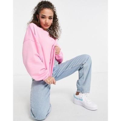 エイソス レディース パーカー・スウェットシャツ アウター ASOS DESIGN oversized sweatshirt with chunky rib in pink Pink