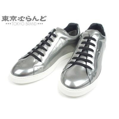 フェンディ FENDI レースアップ スニーカー シューズ 靴 メンズ #8 レザー バグズ アイ シルバー 7E1072  101434182