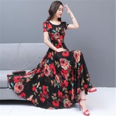 レディースファッション エレガントな花柄シフォン自由奔放に生きるドレス夏の新しいヴィンテージS-3XLプラスサイズプリントビーチマキシ