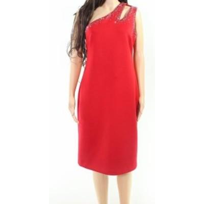 Calvin Klein カルバンクライン ファッション ドレス Calvin Klein Womens Red Size 12 Embellished One Shoulder Sheath Dress