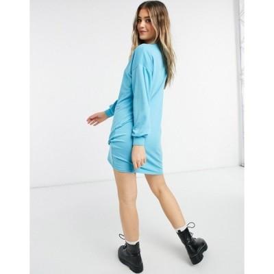 ニュールック レディース ワンピース トップス New Look sweatshirt dress in bright blue Blues