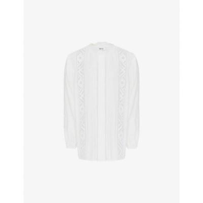 リース REISS レディース ブラウス・シャツ トップス Aliyah lace-panel crepe blouse IVORY