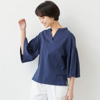 綿100%二の腕カバーに最適なフリル袖◎後ろジッププルオーバー