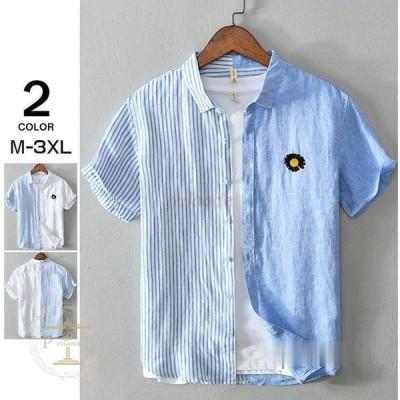 半袖シャツ メンズ カジュアルシャツ リネンシャツ 切り替え ビジネス メンズファッション 夏用 2021