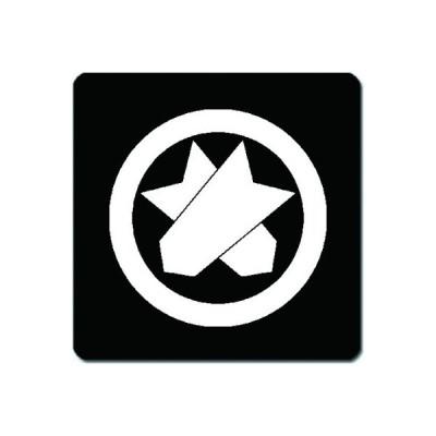 家紋シール 白紋黒地 丸に違い矢筈 4cm x 4cm 4枚セット KS44-0407W
