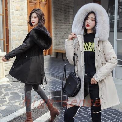 中綿コートジャケットレディースロングコート裏起毛ダウンコットン冬服防寒着暖かい厚手フード付きカジュアルアウターゆったり厚手大きいサイズ