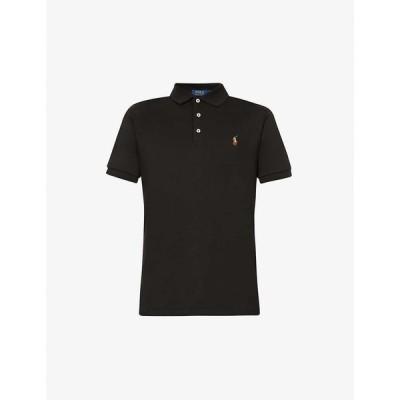 ラルフ ローレン POLO RALPH LAUREN メンズ ポロシャツ トップス Logo-embroidered cotton-jersey polo shirt POLO BLACK