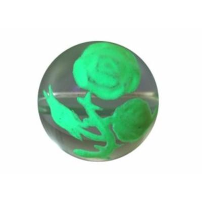 彫刻ビーズ 水晶手彫り玉 (夜光) 薔薇(バラ) 彫り水晶12mm 1粒売り バラ売り 手作りにオススメ! 天然石 パワーストーン