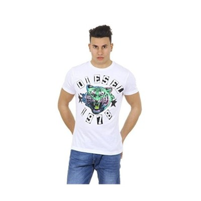 Diesel Men's Tiger The King Short Sleeve Crew Neck T Shirt White (Medium)