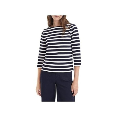 J.Crew Structured Boatneck T-Shirt in Stripe レディース シャツ トップス Icon Stripe Navy/Ivory