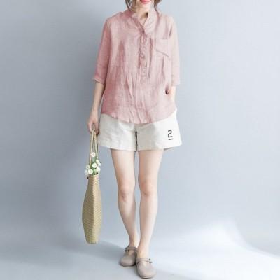 トップス レディース カットソー シャツ きれいめ ゆったり 半袖 夏 大きいサイズ 体型カバー 着やせ