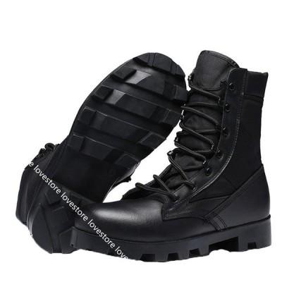ショートブーツ ミドル丈 ワークブーツ 砂漠靴 安全靴 つま先保護 革靴 レザー レースアップ 編み上げ 厚底 作業靴 軍靴 ミリタリー