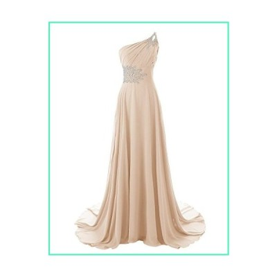 AINNIE Women's One Shoulder Beadings Chiffon Bridesmaid Long Prom Dresses Champagne US16並行輸入品