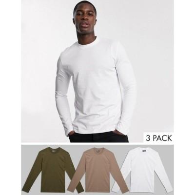 エイソス メンズ Tシャツ トップス ASOS DESIGN 3 pack long sleeve t-shirt Multi