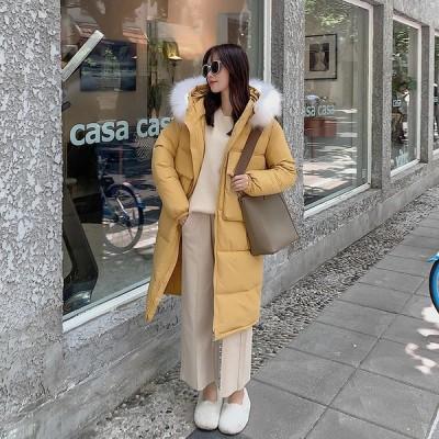 フード付き 大活躍 細身 2019 防寒 レディース ダウンジャケット ファッション 厚 中綿入りジャケット ロングコート ファー襟
