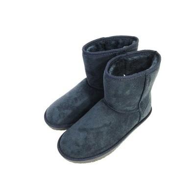 【中古】美品 ムートン ブーツ スエード調 紺 ネイビー LL レディース 【ベクトル 古着】