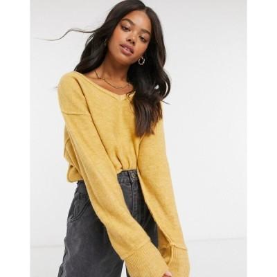 コットン オン レディース ニット&セーター アウター Cotton:On v neck knit sweater in mustard New wheat