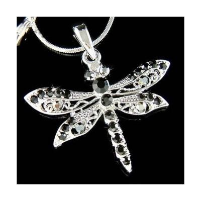 ネックレス インポート スワロフスキ クリスタル ジュエリー ~BLACK DRAGONFLY~ made with Swarovski Crystal Gothic Bridal Charm Chain Necklace