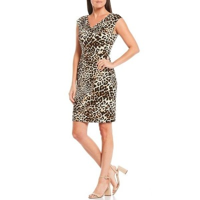 ジェシカハワード レディース ワンピース トップス Petite Size Cap Sleeve Leopard Print Sheath Dress Animal