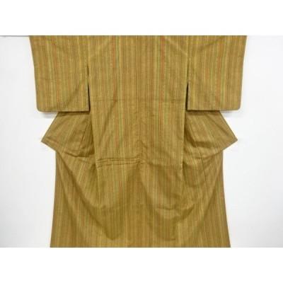 宗sou 縞に花模様織り出し手織り紬着物道中着アンサンブル【リサイクル】【着】