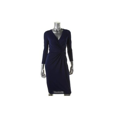 ドレス 女性  アンクライン Anne Klein 1217 レディース ブルー Matte Jersey Knot-Front Wear to Work ドレス 10
