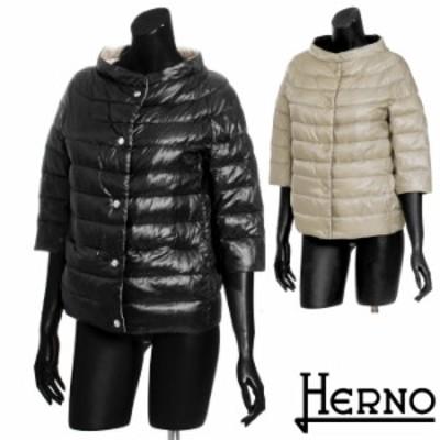 HERNO ヘルノ リバーシブルダウンジャケット 定番ショート丈 スタンドカラー 7分袖 大きいサイズ 2135