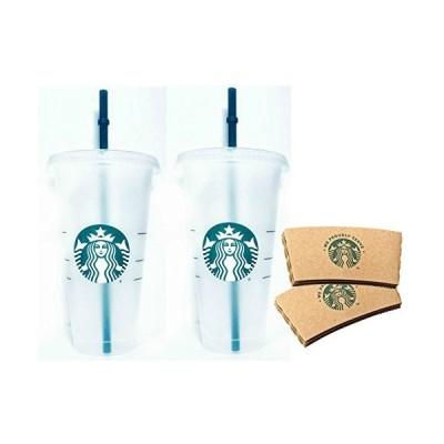 Starbucks 再利用可能 ベンティ 25オンス フロストアイスコールドドリンクカップ 2個セット スリーブ付き