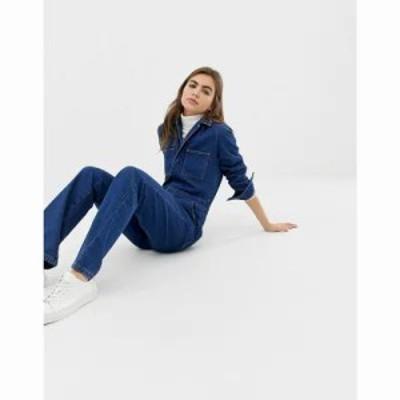 エイソス オールインワン flare boilersuit with patch pockets in midwash blue Midwash blue