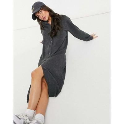 エイソス ミディドレス レディース ASOS DESIGN maxi dress with button through placket in grey エイソス ASOS グレー 灰色