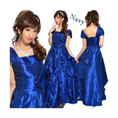 9890 プリーツ縦フリルコサージュ付きオフショル姫ドレス