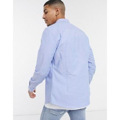 リバーアイランド メンズ シャツ トップス River Island slim oxford shirt in light blue Lblue