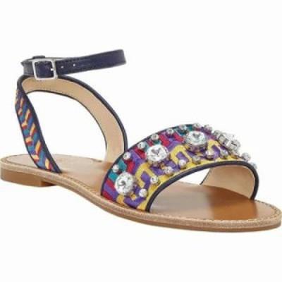 ヴィンス カムート サンダル・ミュール Akitta Ankle Strap Sandal Mustard/Moody Blues Embroidered Fabric/Soft PU